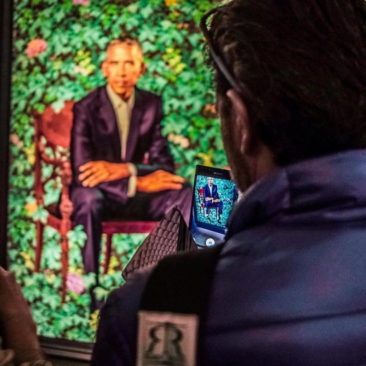 @luento520 - Visitor photographing Barack Obama portrait at Smithsonian National Portrait Gallery - Free museum in Washington, DC