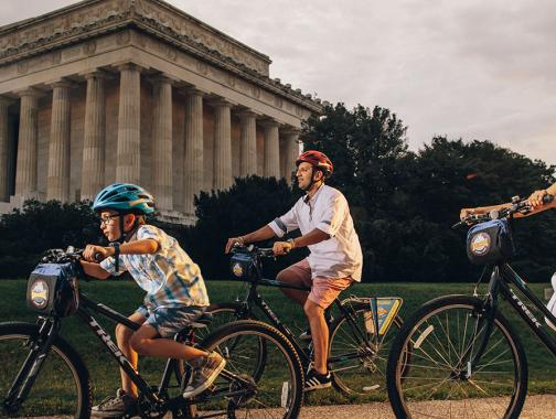 Biking near the Lincoln Memorial on the National Mall, Washington DC
