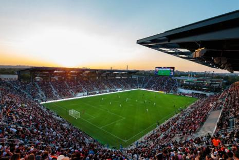 @dcunited - Audi Field at sunset during a D.C. United professional soccer game - Sports venues in Washington, DC